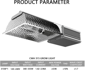 SunStream CMH 315W Ceramic Metal Halide CDM, no Bulb, horizontal Grow Light Fixture , ETL Listed, High-Reflectivity Vega Aluminum Hood, 120/240V Ballast, Full-Spectrum Hydroponic Grow Light and Suspension System