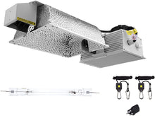 Load image into Gallery viewer, SunStream 1000 Watt DE Double Ended HID Grow Light Kit, 2100K DE HPS Bulb, Close Style Reflector with 120-240V Digital Dimmable Ballast, 240V Adaptor, Rope Hanger