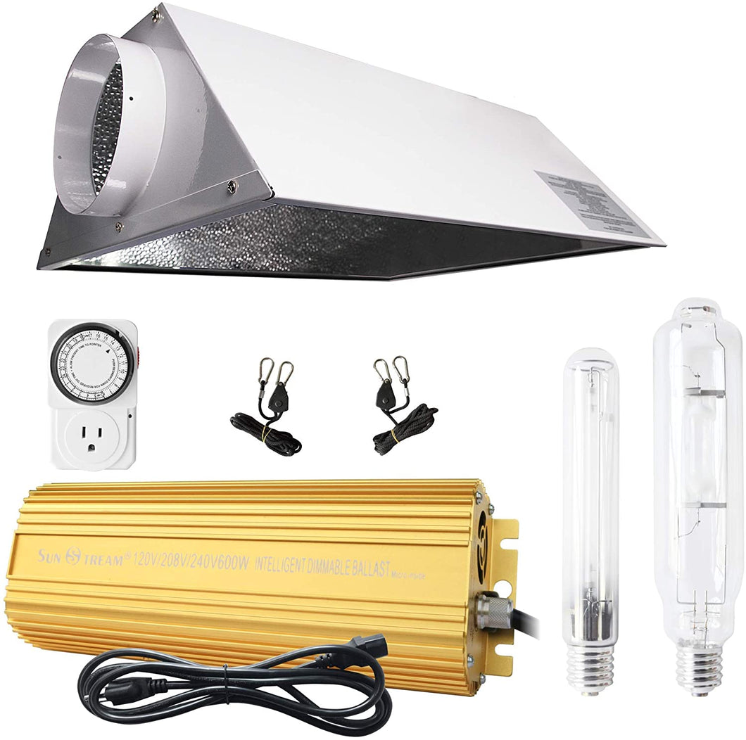 SunStream 600w HPS MH Grow Light Bulb Digital Dimmable Ballast with Air Cooled Hood Reflector Set