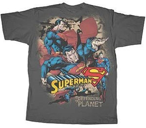 Superman Defending A Planet Grey T-shirt