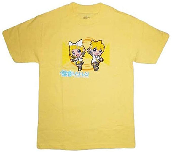 Vocaloid GE Hatsune Miku Kagamine Rin and Len Men Yellow T-Shirt