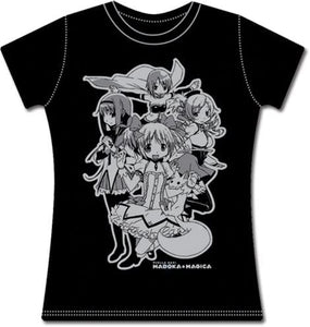 Madoka Magica Group Junior Black T-shirt