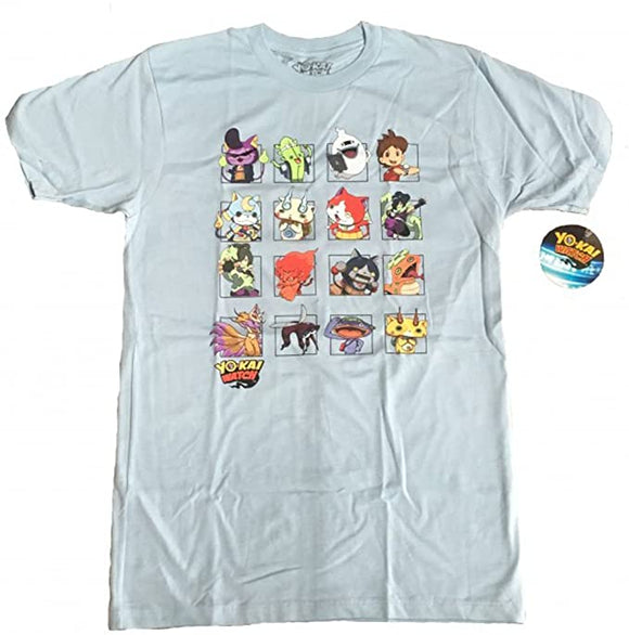 Yokai Watch Characters Grid Adult Men Light Blue T-Shirt
