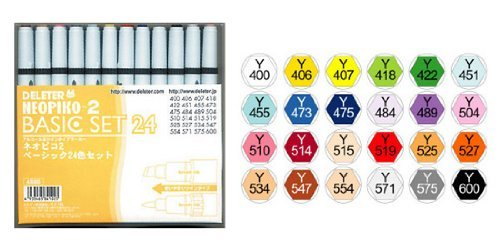 DELETER Neopiko-2 Dual-tipped Alcohol-based Marker - Basic 24 Color Set