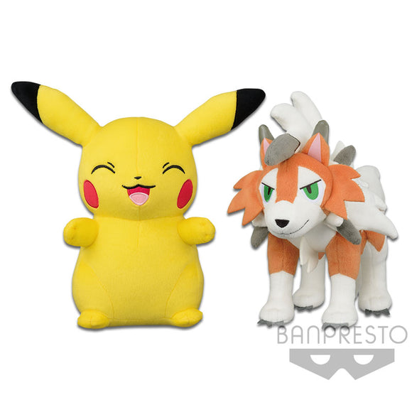 Pokemon Sun and Moon - Pikachu and Dusk Form Lycanroc Big Plush