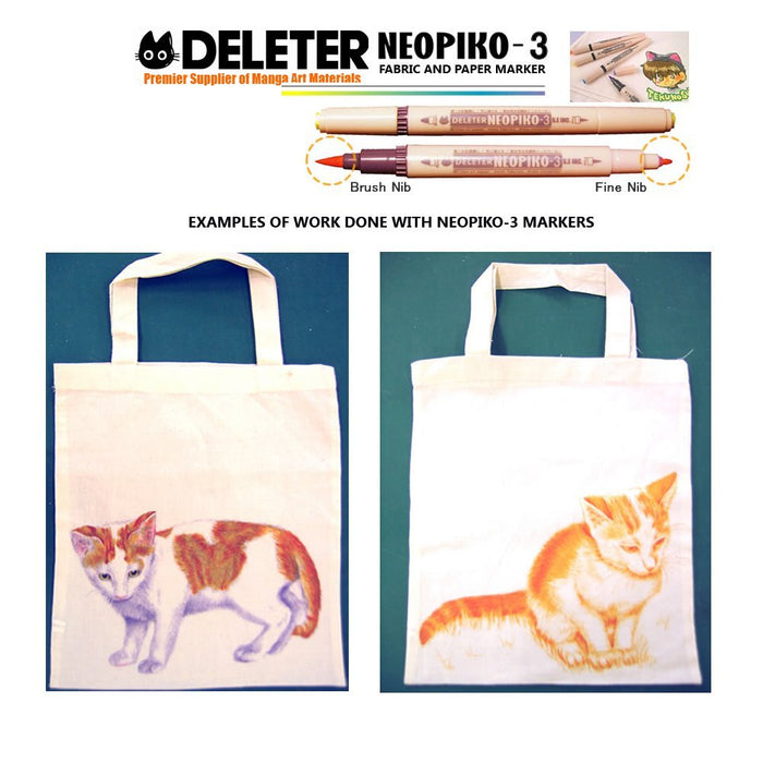 DELETER Neopiko-3 Sepia (A-103) Dual-tipped Water-based Fabric Marker