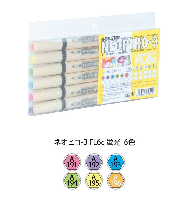 NEOPIKO-3 6 Color Fluorescent Set Deleter Fabric Markers Art Supplies
