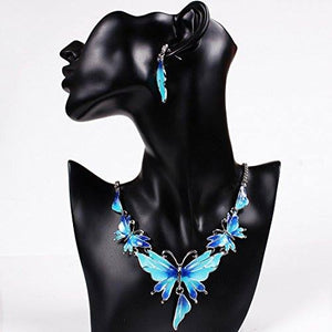 Vintage Butterfly Necklace & Earrings Set - Canitrini