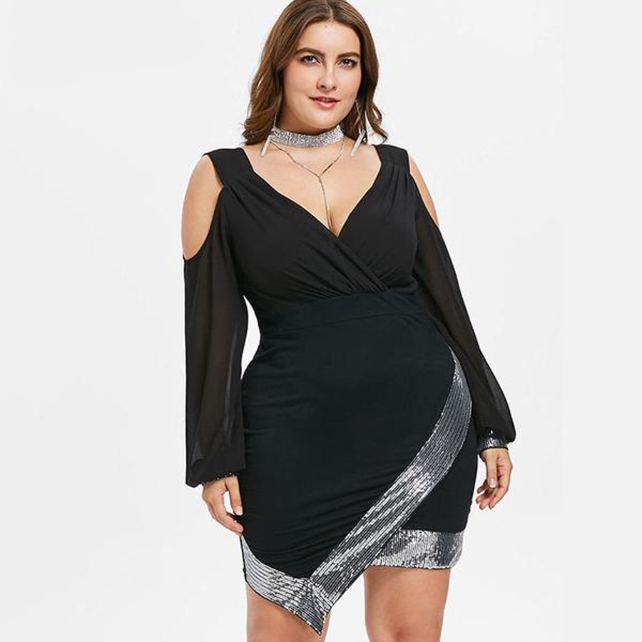 Blaq Sequin Party Dress (xl-5xl) - Canitrini
