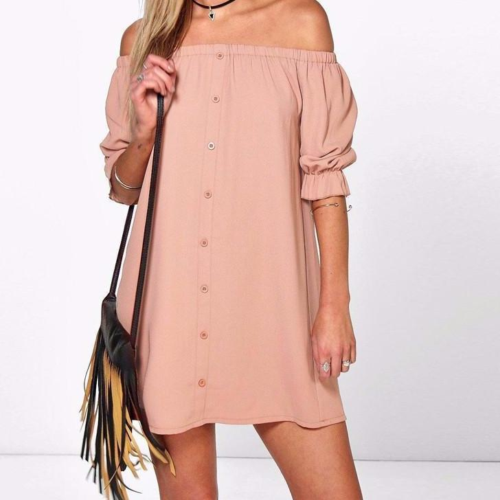 Off Shoulder Mini Casual Dress (Size S - 4XL) - Canitrini