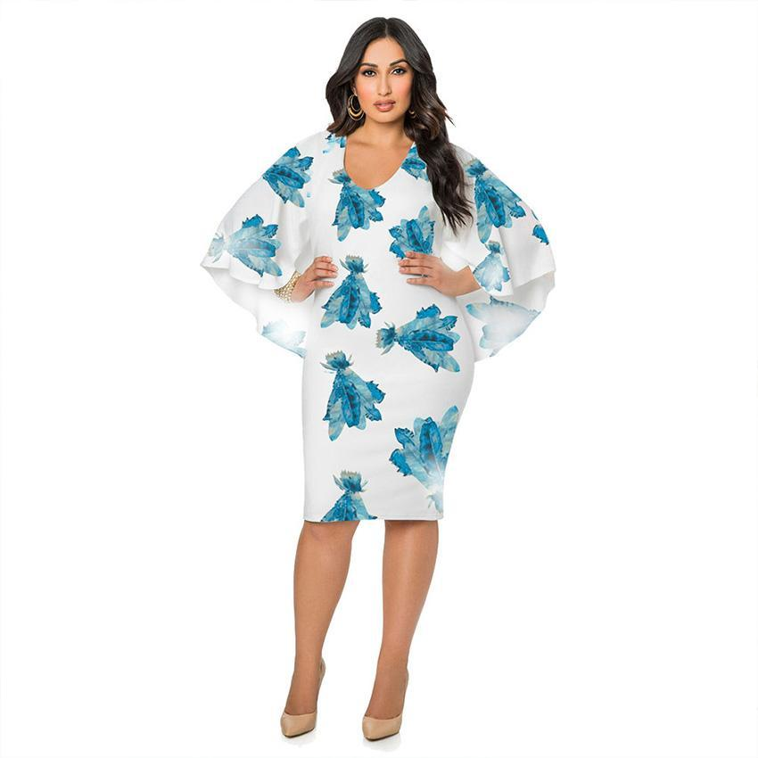 Floral Chiffon Batwing Dress (L-3XL)
