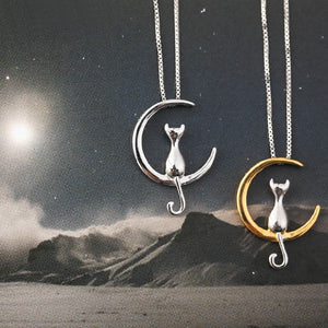 925 Sterling Silver/Moon Cat Necklace - Canitrini
