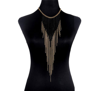 Fringe Black/Gold Chain Necklace - Canitrini