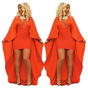 Elegant Orange Cloak Dress (S-XL) - Canitrini