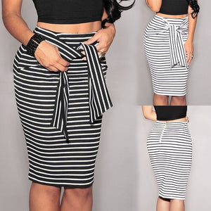 B&W Striped Skirt (S-XL) - Canitrini