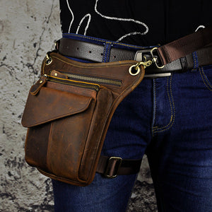 Men's Leather Messenger Fanny Pack - Canitrini
