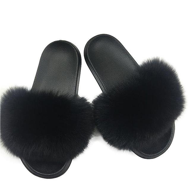 Furry Fox Fluffy Slippers (Size 6.5-11)