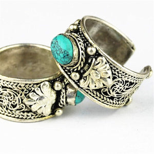 Tibetan Silver Inlaid Stone Ring