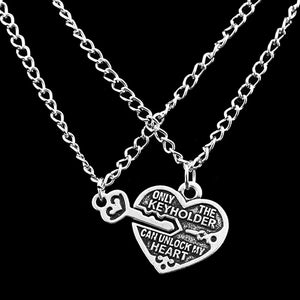 Love Heart Key Pendant Necklace