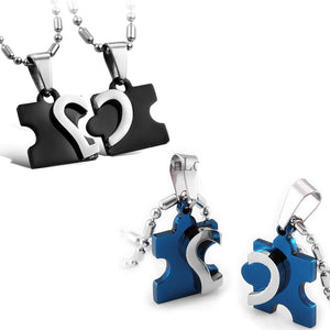 Couples Puzzle Heart Necklace - Canitrini