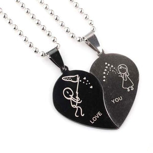 Love You Heart Couple Necklace
