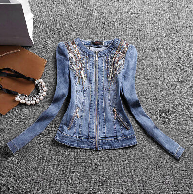 Sequined Beaded Jean Jacket (XS-L) - Canitrini
