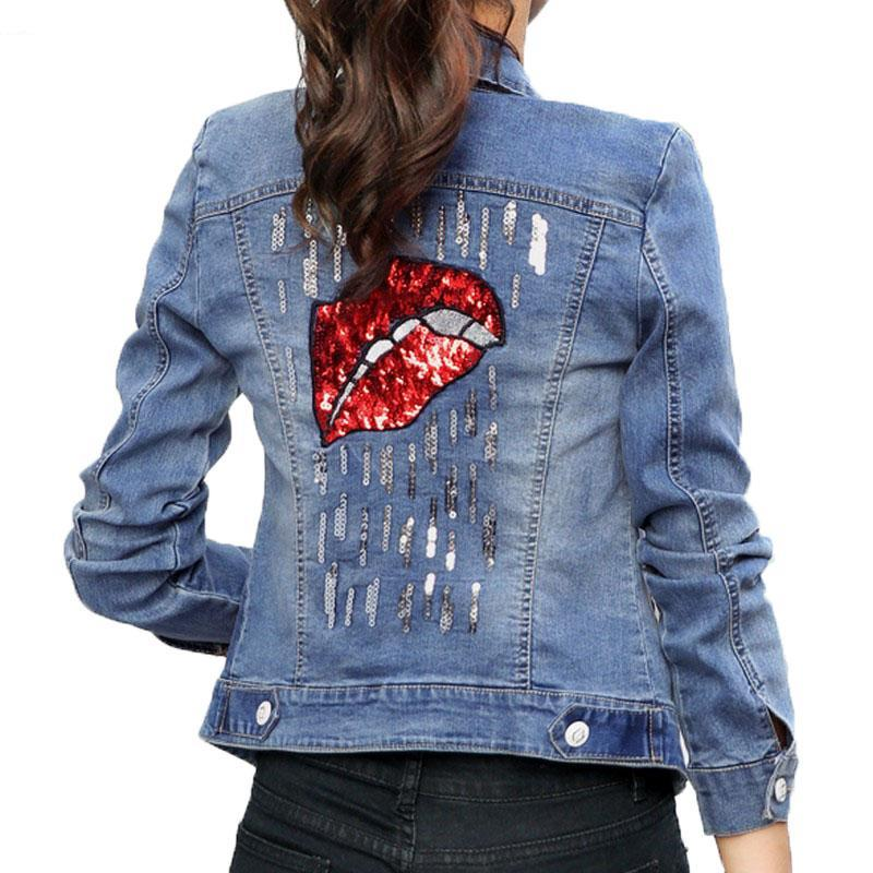 Red Lip Sequined Jacket (S-2XL) - Canitrini