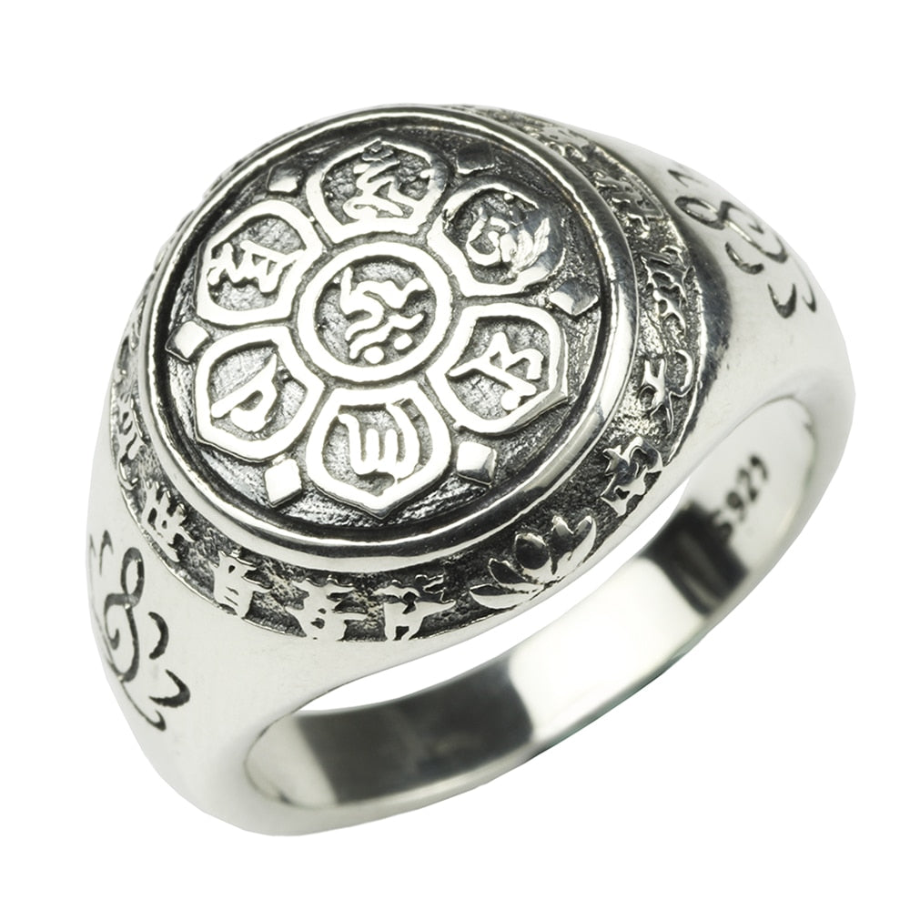925 Silver Buddha Six Words' Mantra Ring - Canitrini