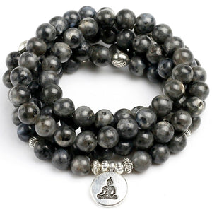 108 Mala Natural Black Flash Labradorite Rosary