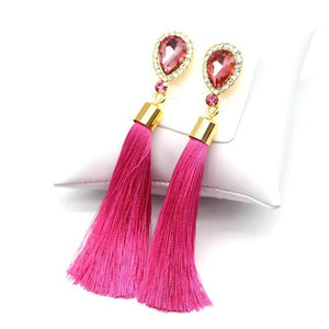 Crystal Water Drop Tassel Earrings - Canitrini
