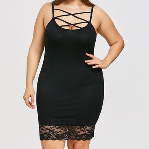 Criss Cross Lace Dress (S-5XL) - Canitrini