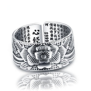 925 Silver Amulet Lotus Baltic Scriptures Ring - Canitrini