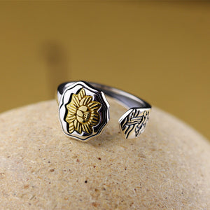 Golden Lotus 925 Sterling Silver Ring