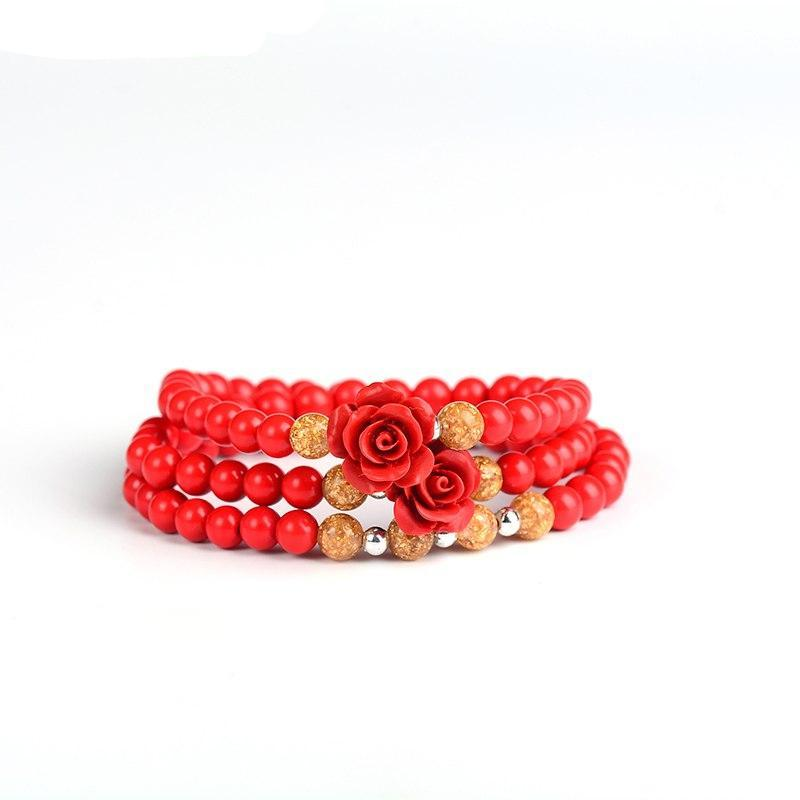Natural Cinnabar Rose Bracelet