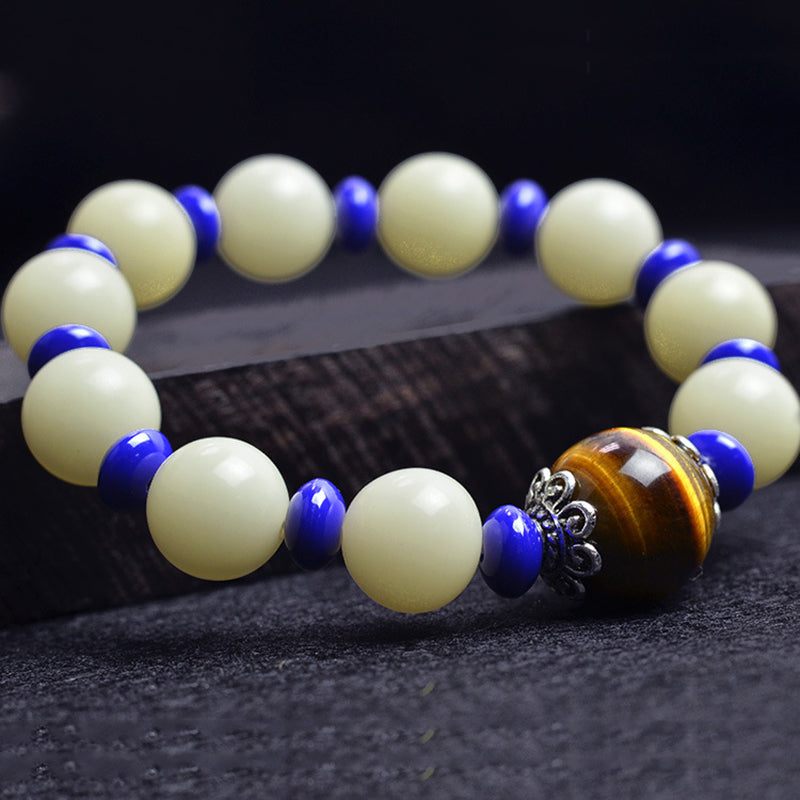 Natural White Bodhi W/ Tiger Eye Bracelet