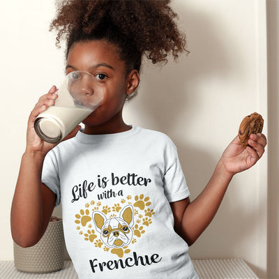 """Life is Better with a Frenchie"" American Apparel Short Sleeve Kids T-Shirt (8 to 12 year olds)"
