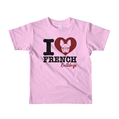 """I Love French Bulldogs"" American Apparel Short Sleeve Kids T-Shirt (2 to 6 year olds)"