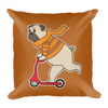 """Scooter Pug"" Decorative Square Pillow Case With Stuffing"