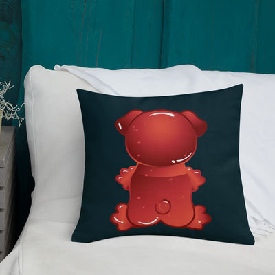 """Gummy Pug Red"" Decorative Square Pillow Case With Stuffing"