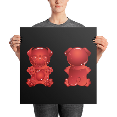 """Gummy Pug Red"" Premium Luster Photo Paper Unframed Poster"