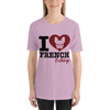"""I Love French Bulldogs"" Women's Short Sleeve Jersey Tee"