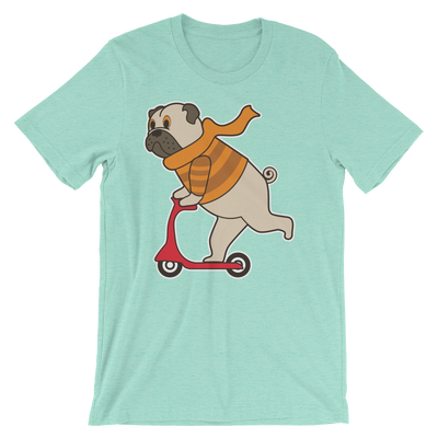 """Scooter Pug"" Women's Short Sleeve Jersey Tee"