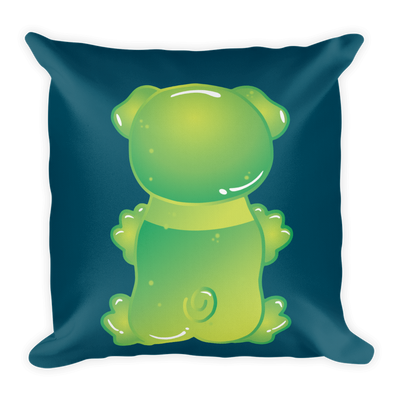 """Gummy Pug Green"" Decorative Square Pillow Case With Stuffing"