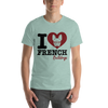 """I Love French Bulldogs"" Men's Short Sleeve Jersey Tee"