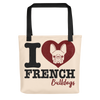 """I Love French Bulldogs"" All-Over Print Tote Bag"