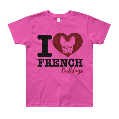 """I Love French Bulldogs"" American Apparel Short Sleeve Kids T-Shirt (8 to 12 year olds)"