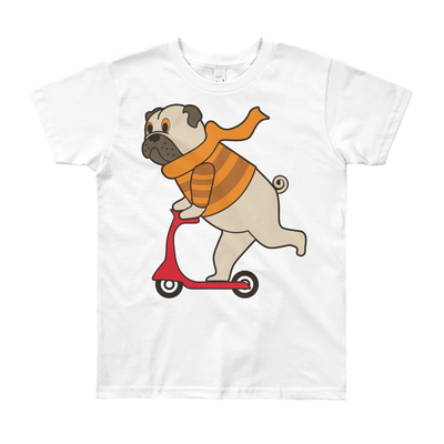 """Scooter Pug"" American Apparel Short Sleeve Kids T-Shirt (8 to 12 Year Olds)"