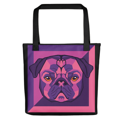 """Pop Pug Art"" All-Over Print Tote Bag (Purple Tones)"