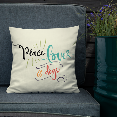 """Peace, Love & Dogs"" Decorative Square Pillow Case With Stuffing"