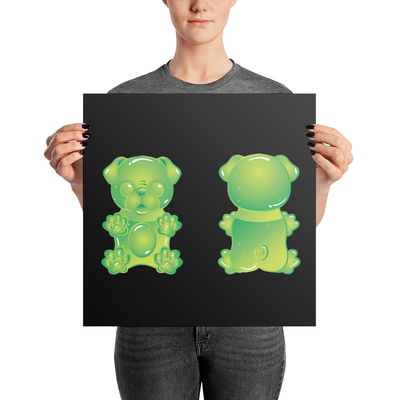 """Gummy Pug Green"" Premium Luster Photo Paper Unframed Poster"